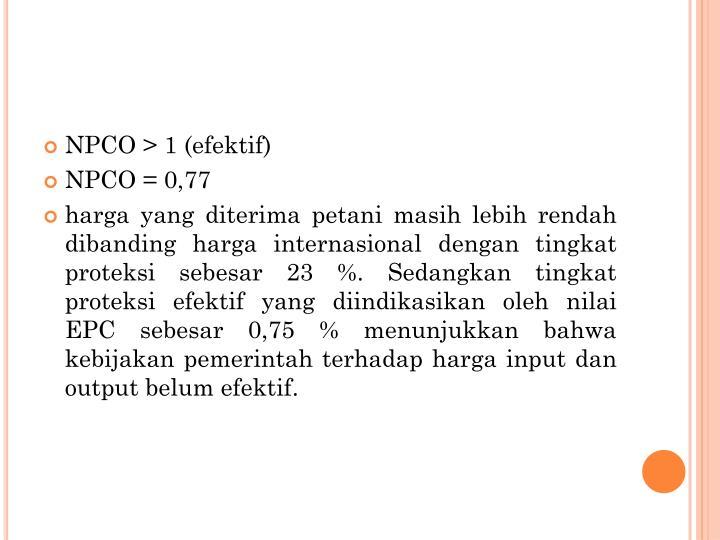 NPCO > 1 (