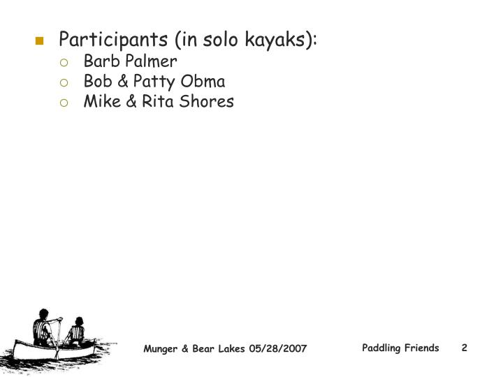 Participants (in solo kayaks):