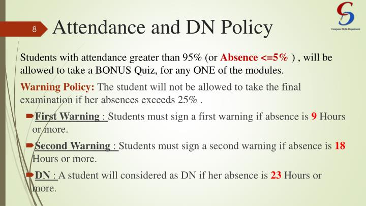 Attendance and DN Policy