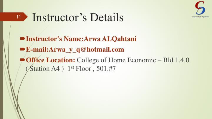 Instructor's Details