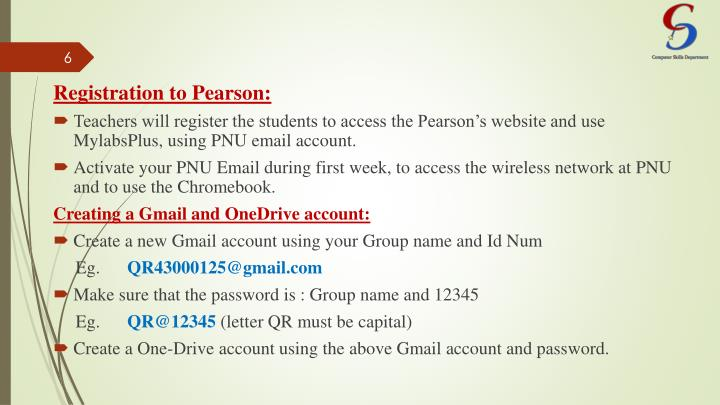 Registration to Pearson: