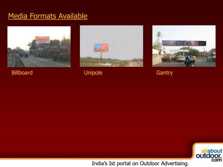 Media Formats Available