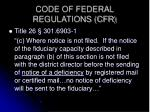 code of federal regulations cfr
