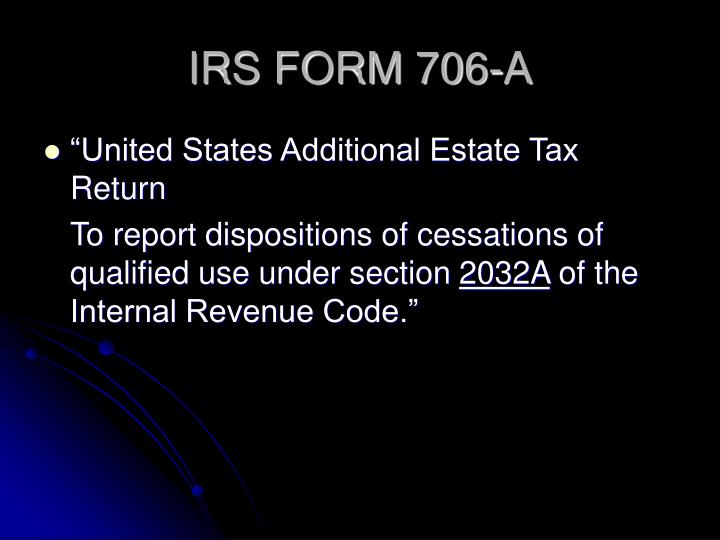 IRS FORM 706-A