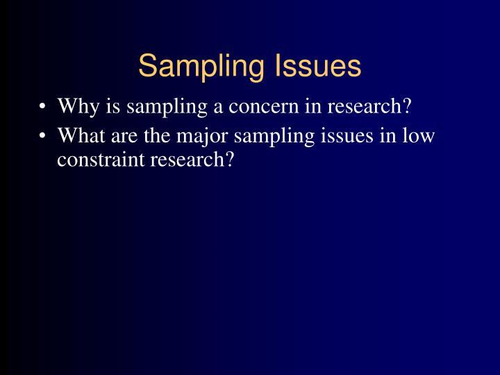 Sampling Issues