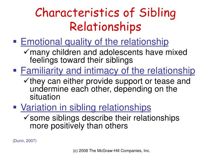 Characteristics of Sibling Relationships