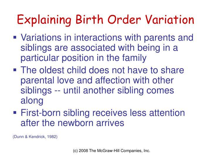 Explaining Birth Order Variation