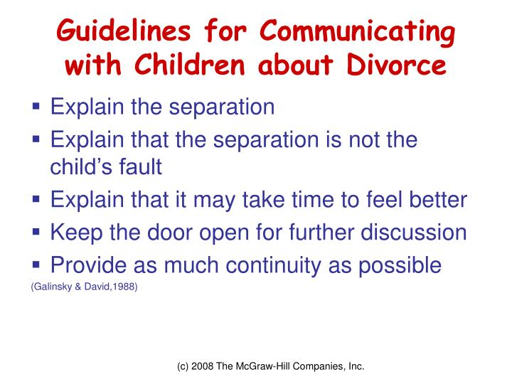 Guidelines for Communicating with Children about Divorce