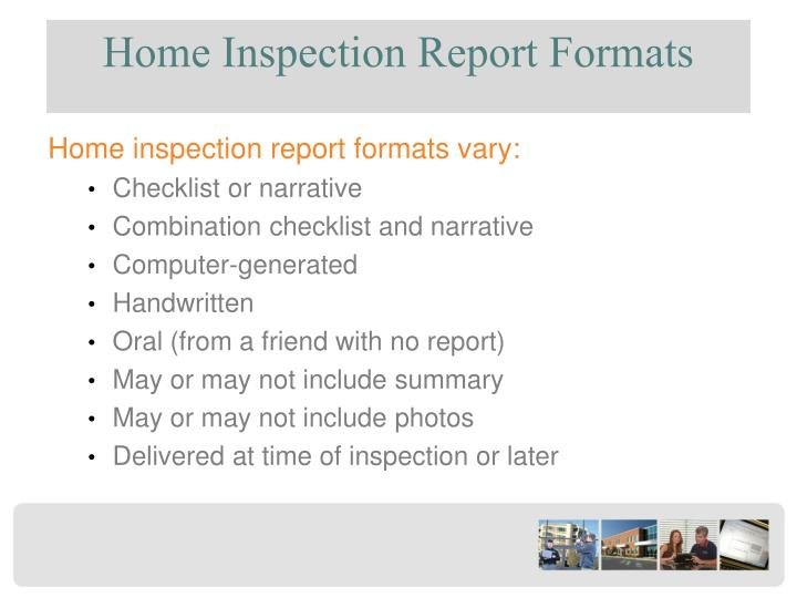 Home Inspection Report Formats