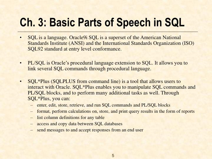 Ch. 3: Basic Parts of Speech in SQL