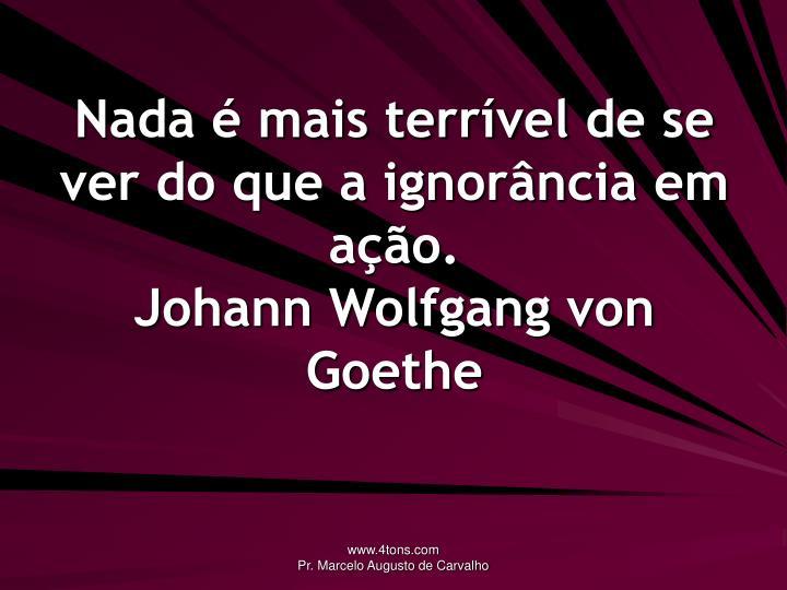 Nada é mais terrível de se ver do que a ignorância em ação.