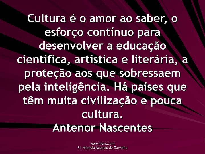 Cultura é o amor ao saber, o esforço contínuo para desenvolver a educação científica, artística e literária, a proteção aos que sobressaem pela inteligência. Há países que têm muita civilização e pouca cultura.
