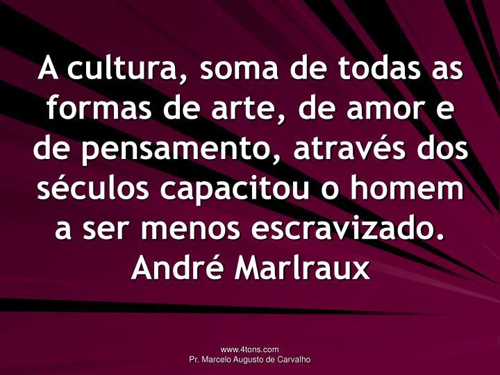 A cultura, soma de todas as formas de arte, de amor e de pensamento, através dos séculos capacitou o homem a ser menos escravizado.