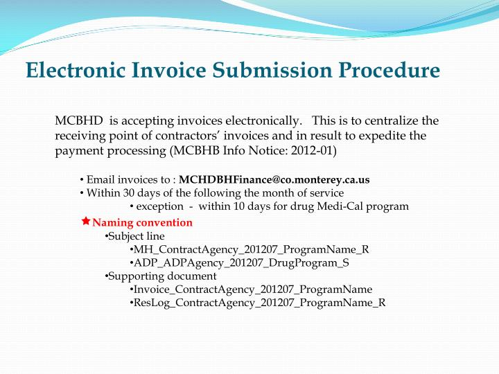 Electronic invoice submission procedure