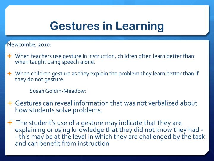 Gestures in Learning