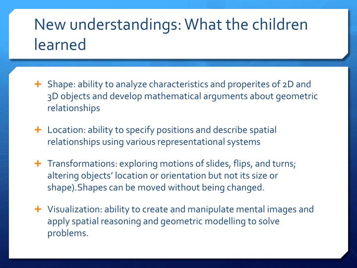 New understandings: What the children learned