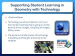 supporting student learning in geometry with technology