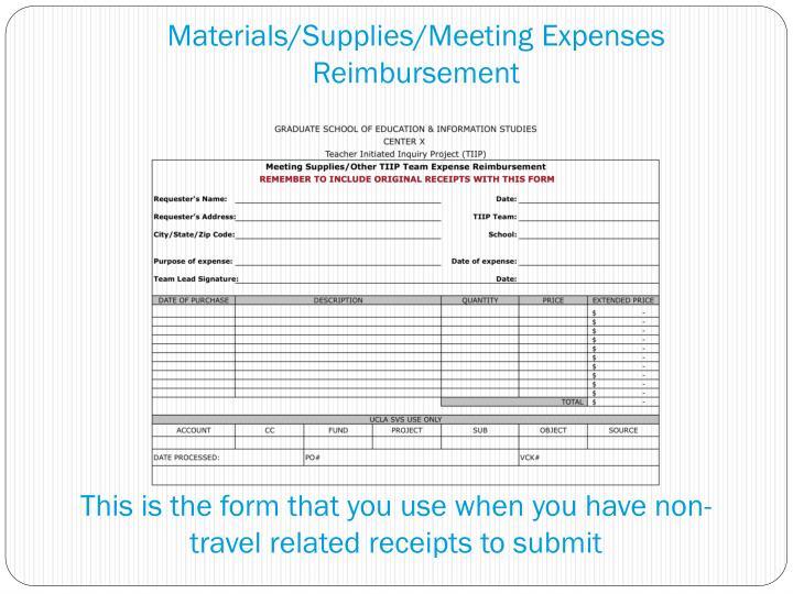 Materials/Supplies/Meeting Expenses Reimbursement