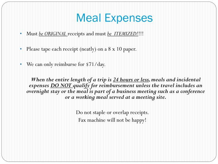 Meal Expenses