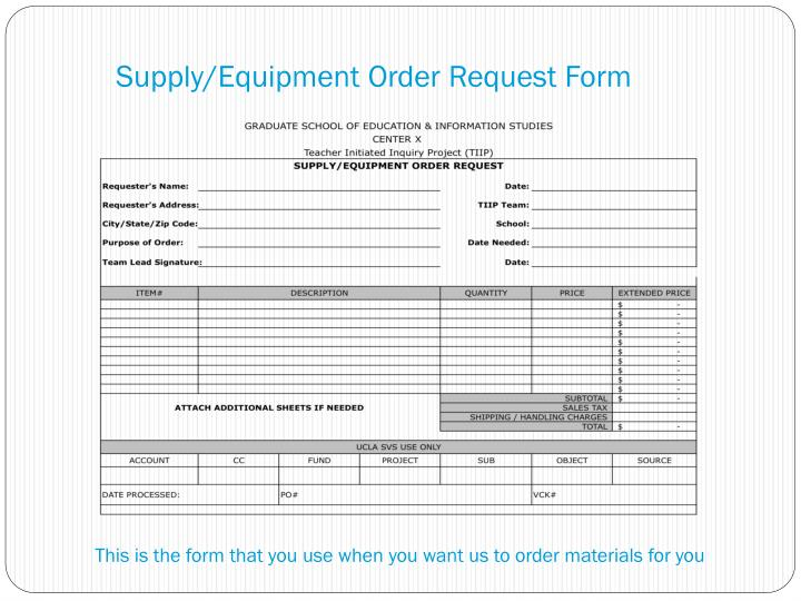 Supply/Equipment Order Request Form