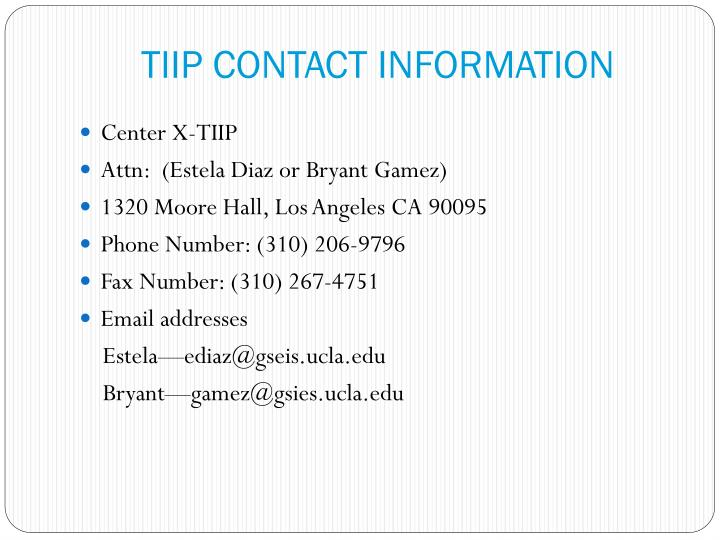TIIP CONTACT INFORMATION