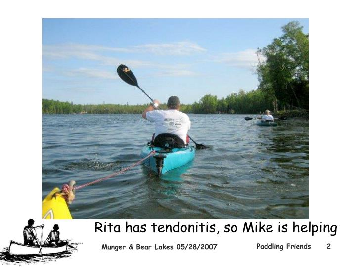 Rita has tendonitis, so Mike is helping