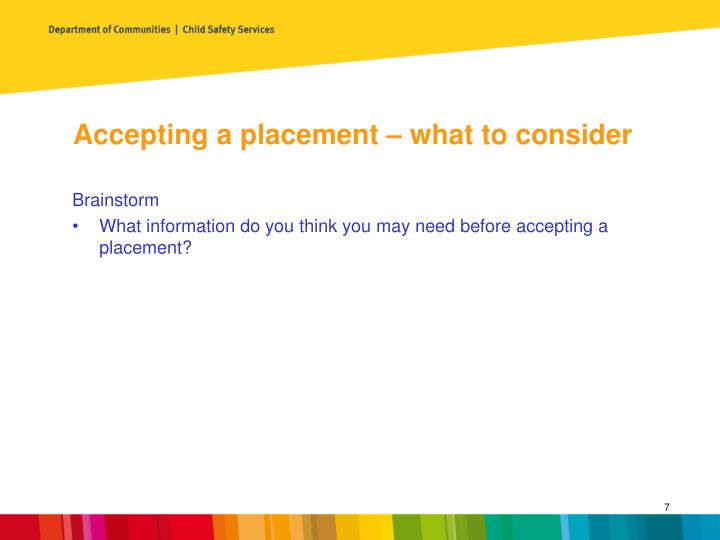 Accepting a placement – what to consider