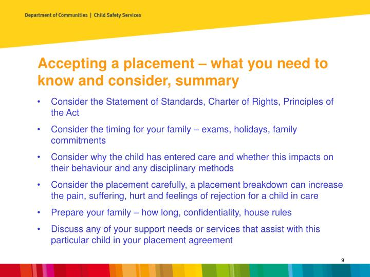 Accepting a placement – what you need to know and consider, summary