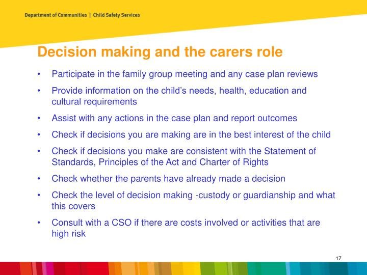 Decision making and the carers role