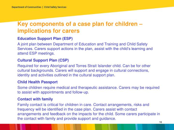 Key components of a case plan for children – implications for carers