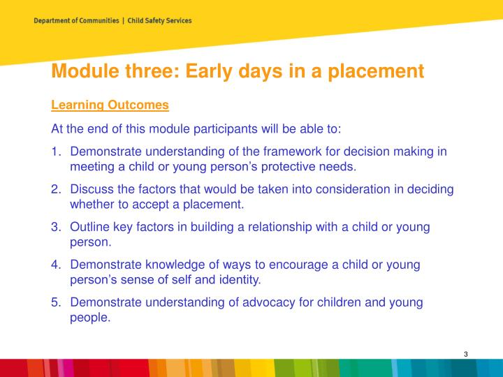 Module three: Early days in a placement