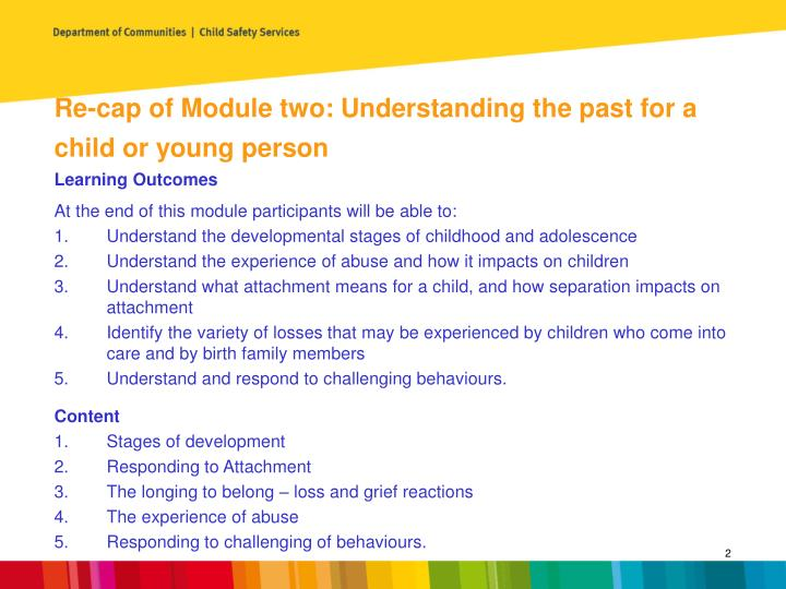 Re-cap of Module two: Understanding the past for a child or young person