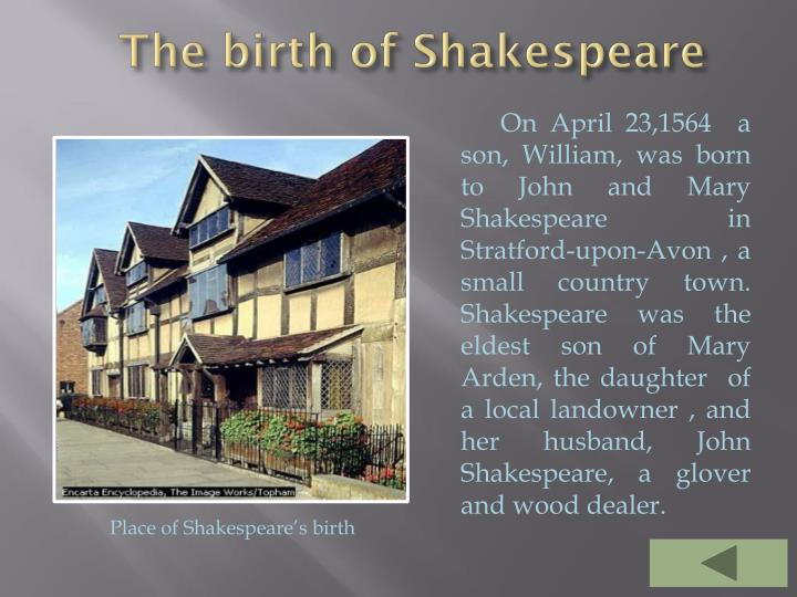 The birth of Shakespeare