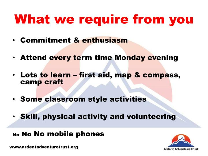 What we require from you
