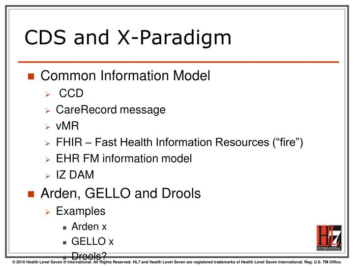 CDS and X-Paradigm