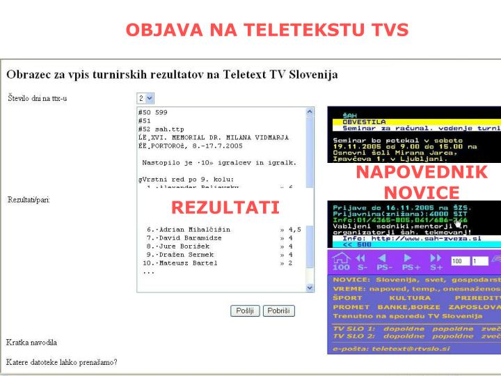 OBJAVA NA TELETEKSTU TVS
