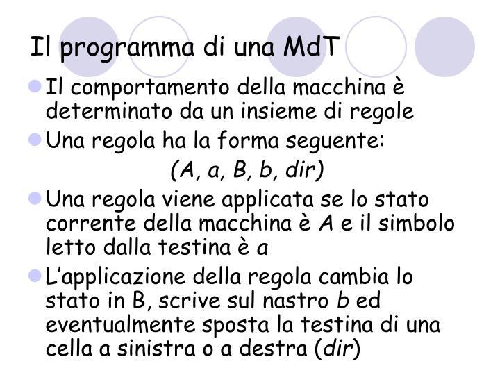 Il programma di una MdT