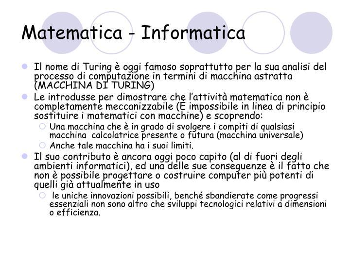 Matematica - Informatica