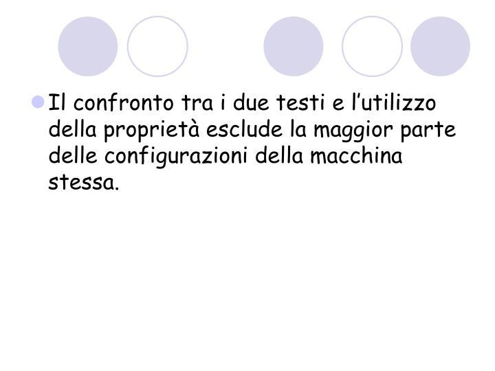Il confronto tra i due testi e l'utilizzo della proprietà esclude la maggior parte delle configurazioni della macchina stessa.