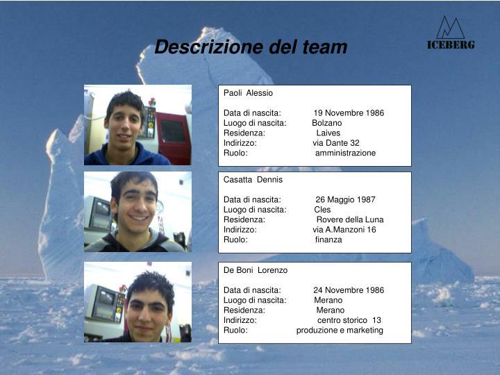 Descrizione del team