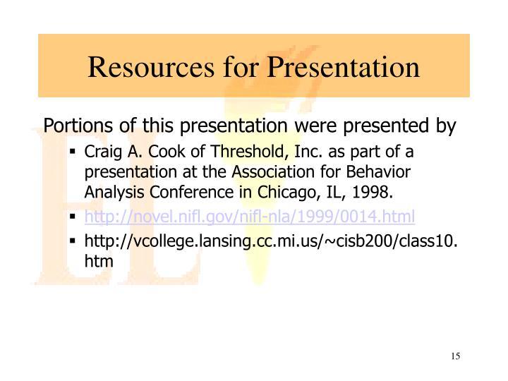 Resources for Presentation
