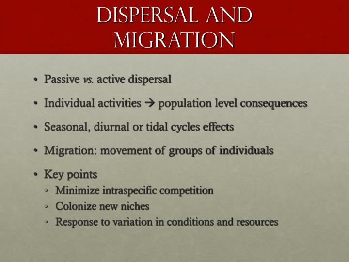 dIspersal and migration