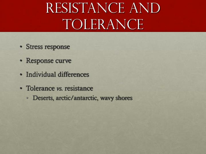 Resistance and Tolerance