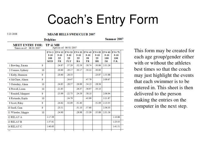 Coach's Entry Form