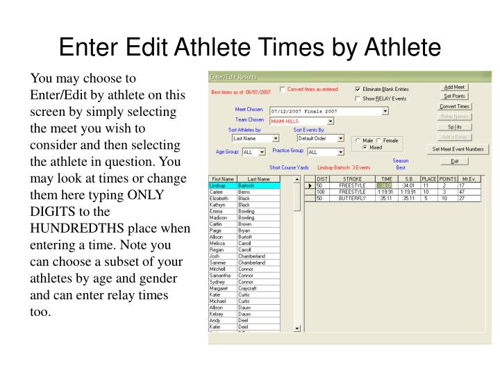 Enter Edit Athlete Times by Athlete