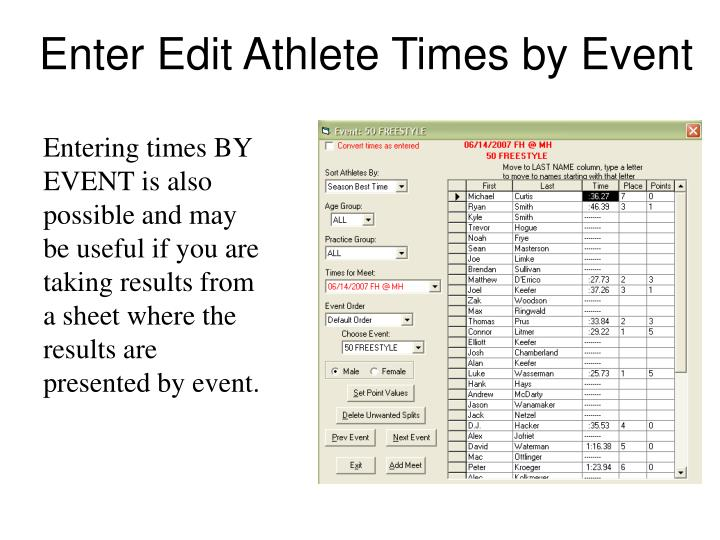 Enter Edit Athlete Times by Event