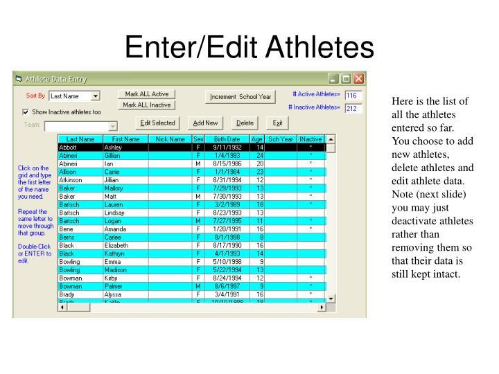 Enter/Edit Athletes