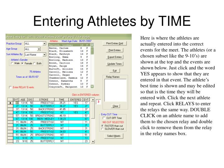 Entering Athletes by TIME