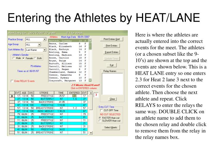Entering the Athletes by HEAT/LANE