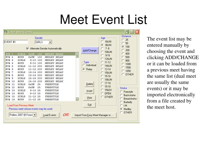 Meet Event List